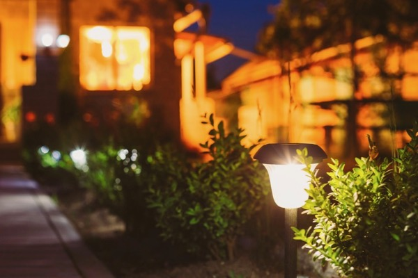 Night Time Outside With Solar Garden Lighting