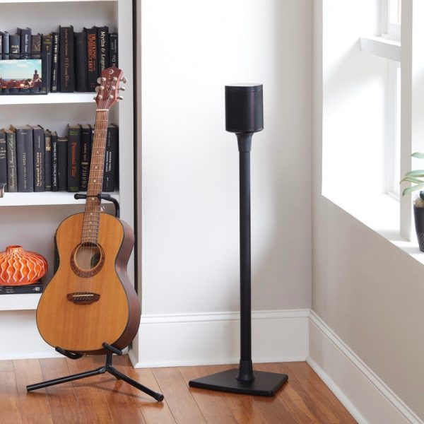 SANUS WSS21 Wireless Speaker Stand Designed For Sonos In Black With Speaker Lifestyle Photograph