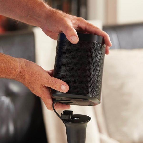 SANUS WSS21 Wireless Speaker Stand Designed For Sonos In Black Attaching Speaker