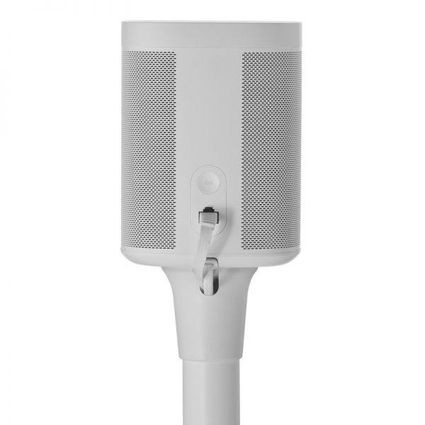 SANUS WSS21 Wireless Speaker Stand Designed For Sonos In White Bracket Back On White Background