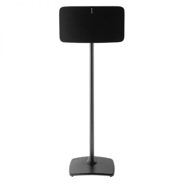 SANUS WSS51 Wireless Speaker Stand Designed For Sonos In Black On White Background