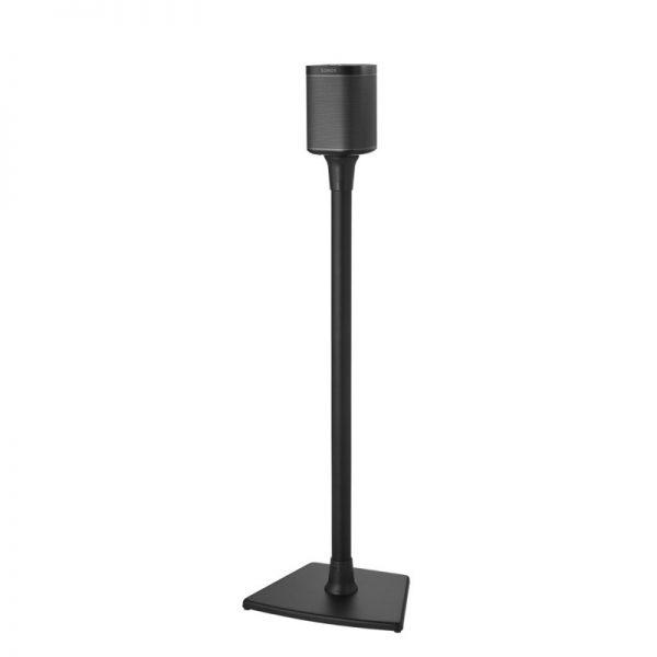 SANUS WSS21 Wireless Speaker Stand Designed For Sonos In Black On White Background