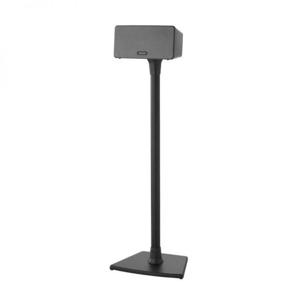 SANUS WSS22 Wireless Speaker Stand Designed For Sonos In Black On White Background