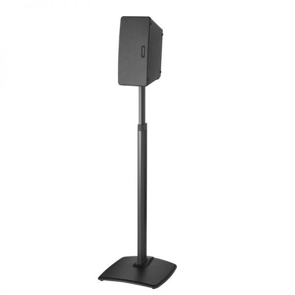 SANUS WSSA1 Adjustable Speaker Stand Designed For Sonos In Black On White Background