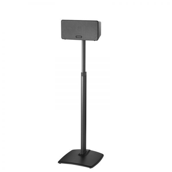 SANUS WSSA2 Adjustable Speaker Stands Designed For Sonos In Black on White Background