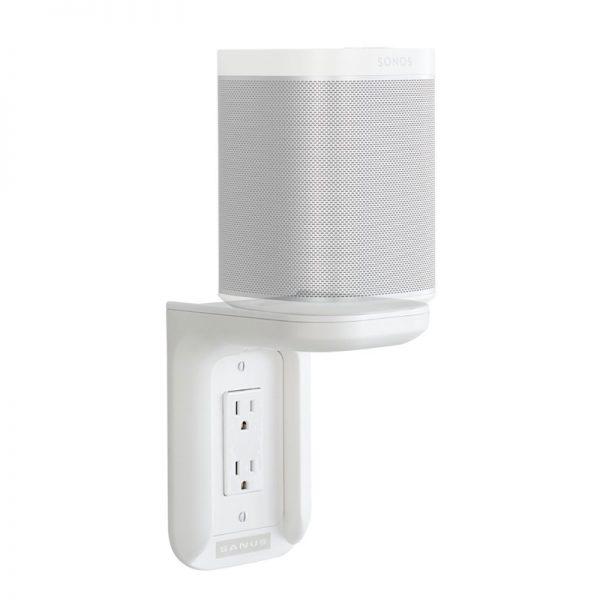 SANUS WSOS1 Outlet Shelf In White With Speaker On White Background