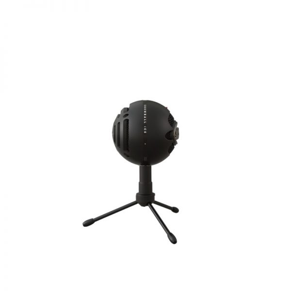 Blue Snowball iCE USB Microphone In Black Side On White Background
