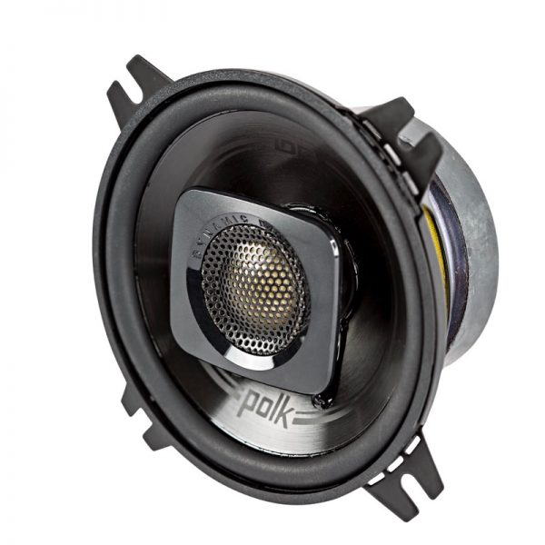 "Polk DB+ Series 4"" Coaxial Speaker Black Side Angle On White Background"