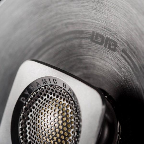 Polk BD522 Car Speaker In Black Side Angle Close Up On White Background