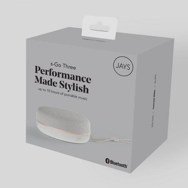 JAYS s-Go Three Speaker Packaging In Concrete White On White Background