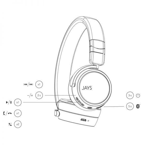 JAYS x-Five Wireless On Ear Headphones Diagram On White Background
