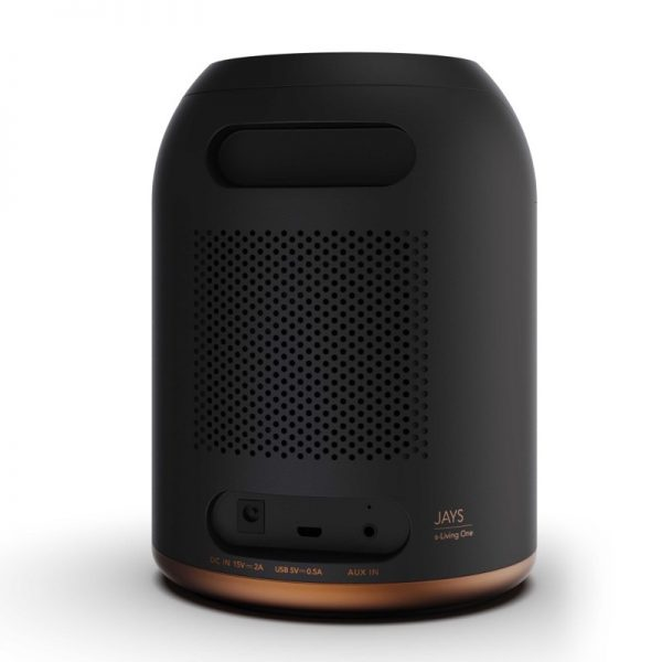 JAYS s-Living One Top Of Speaker Controls In Graphite Black On White Background