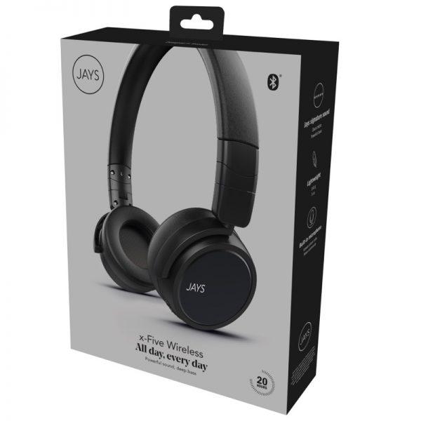 JAYS x-Five Wireless Black On Ear Headphones Packaging