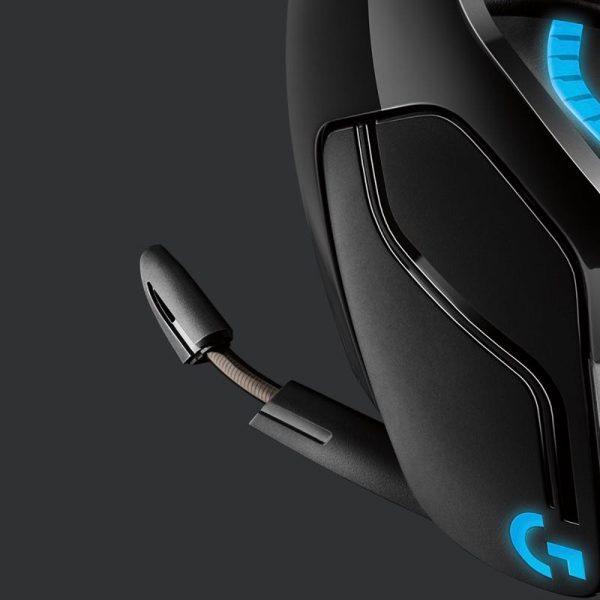 Logitech G935 Wireless 7.1 Surround Lightsync Gaming Headset Upclose Mic Photograph