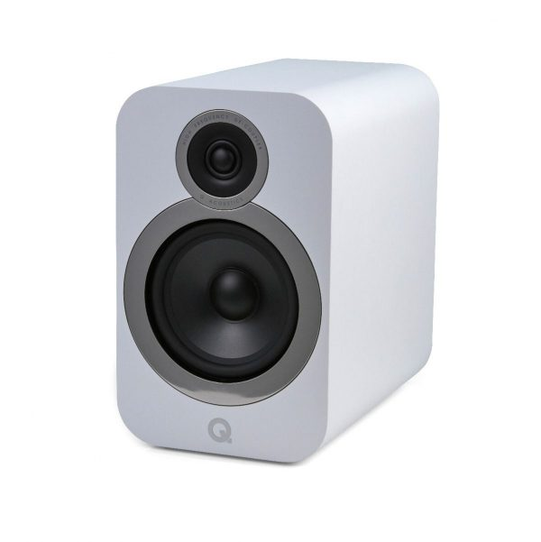 Q Acoustics 3030i Stereo Bookshelf Speakers In Arctic White On White Background
