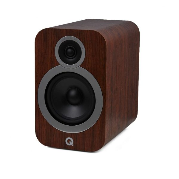 Q Acoustics 3030i Stereo Bookshelf Speakers In English Walnut On White Background