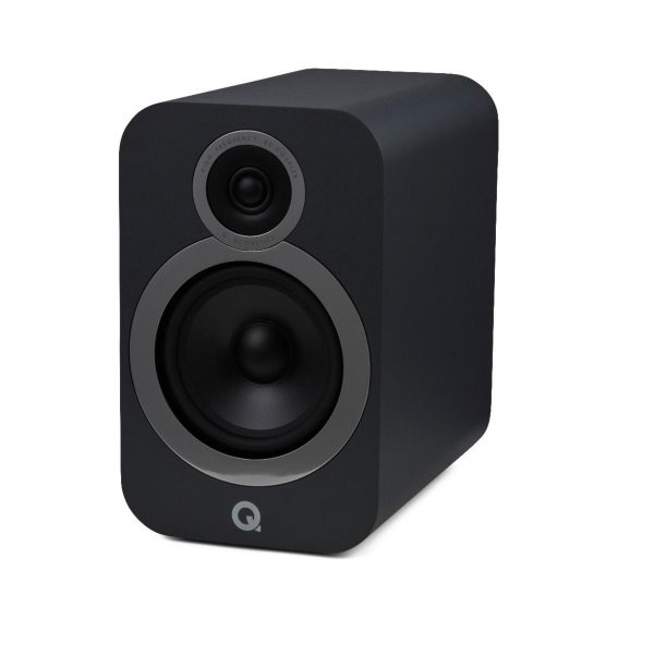 Q Acoustics 3030i Stereo Bookshelf Speakers In Graphite Grey On White Background