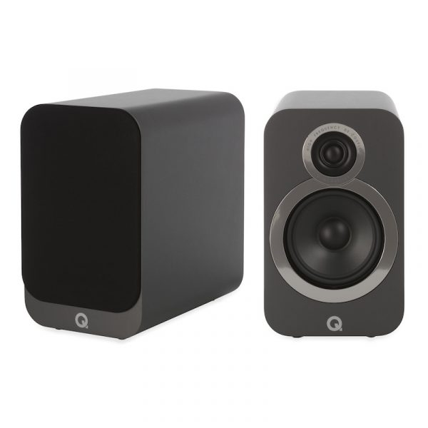 Q Acoustics 3020i Stereo Bookshelf Speakers In Graphite Grey On White Background