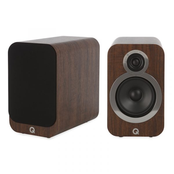 Q Acoustics 3020i Stereo Bookshelf Speakers In English Walnut On White Background