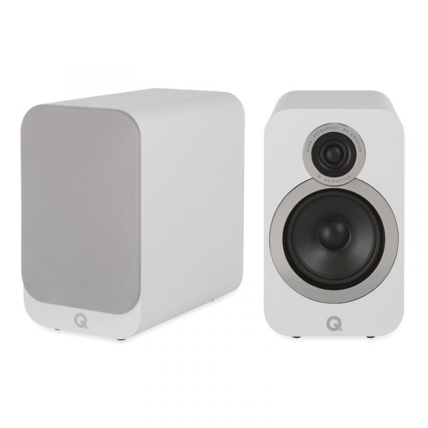 Q Acoustics 3020i Stereo Bookshelf Speakers In Arctic White On White Background