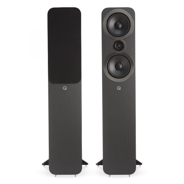 Q Acoustics 3050i Stereo Floorstanding Tower Speakers In Graphite Grey On White Background