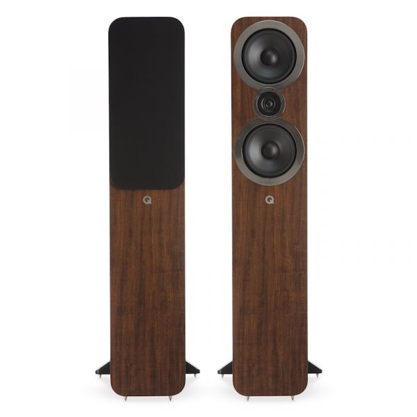 Q Acoustics 3050i Stereo Floorstanding Tower Speakers In English Walnut On White Background