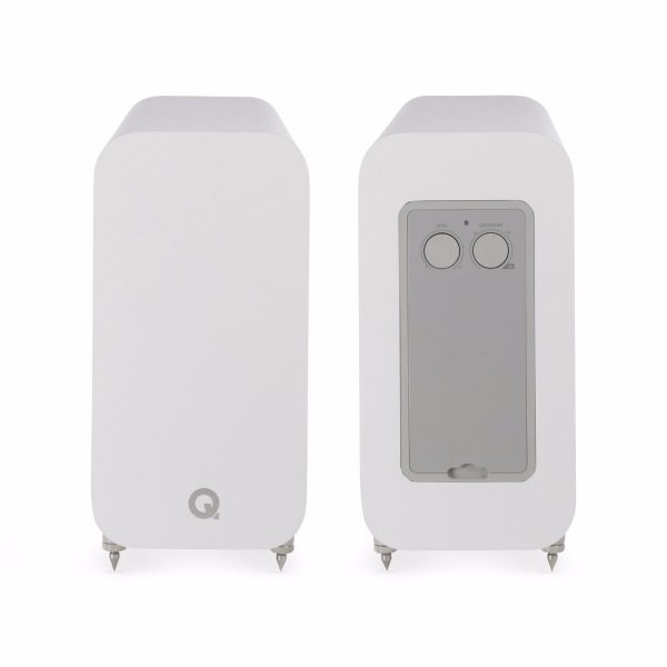 Q Acoustics 3060S Subwoofer In Arctic Front And Back On White Background