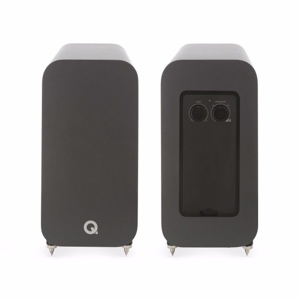 Q Acoustics 3060S Subwoofer In Graphite Grey Back And Front On White Background