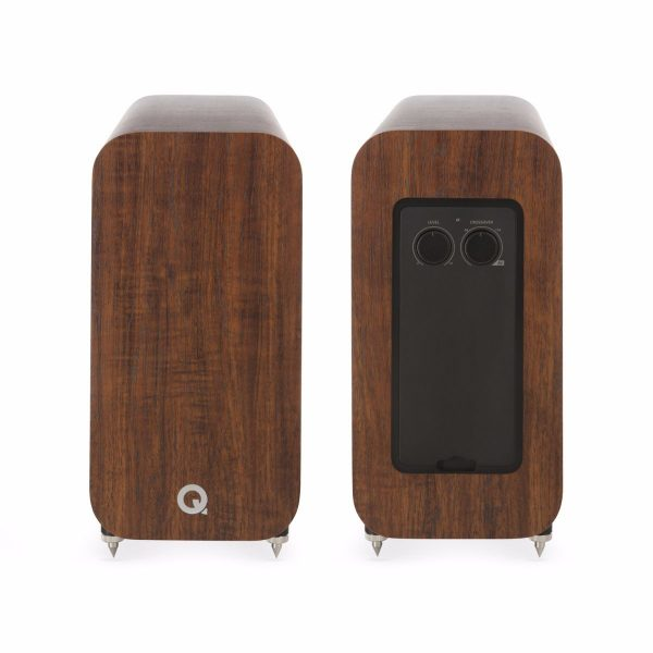 Q Acoustics 3060S Subwoofer In English Walnut Front And Back On White Background