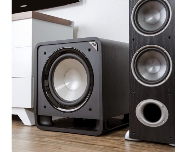 Polk Audio HTS 12 Subwoofer In Black Walnut Without Grille Lifestyle Photograph