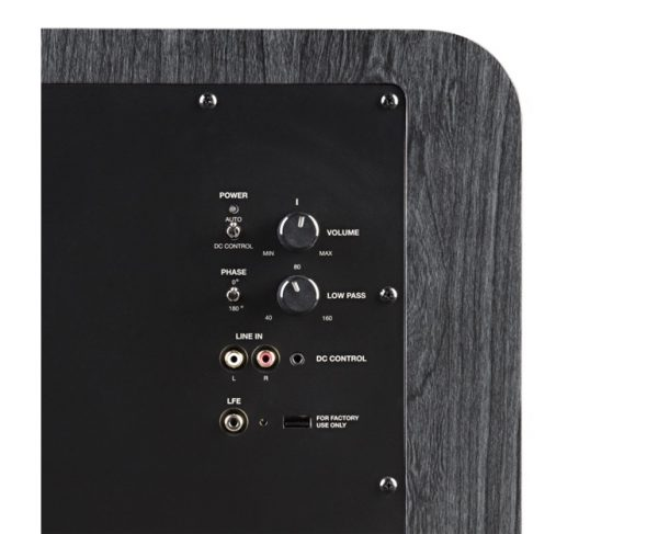 Polk Audio HTS 12 Subwoofer In Black Walnut Rear Showing Controls Photograph