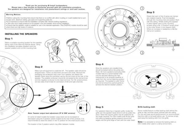 "Q Acoustics 6.5"" In-Ceiling Stereo Speaker Manual Diagram"
