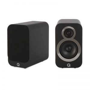 Q Acoustics 3010i Compact Bookshelf Speaker Pair Black Carbon Photograph