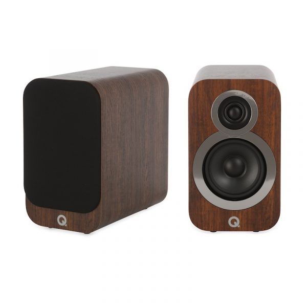 Q Acoustics 3010i Compact Bookshelf Speakers In English Walnut On White Background