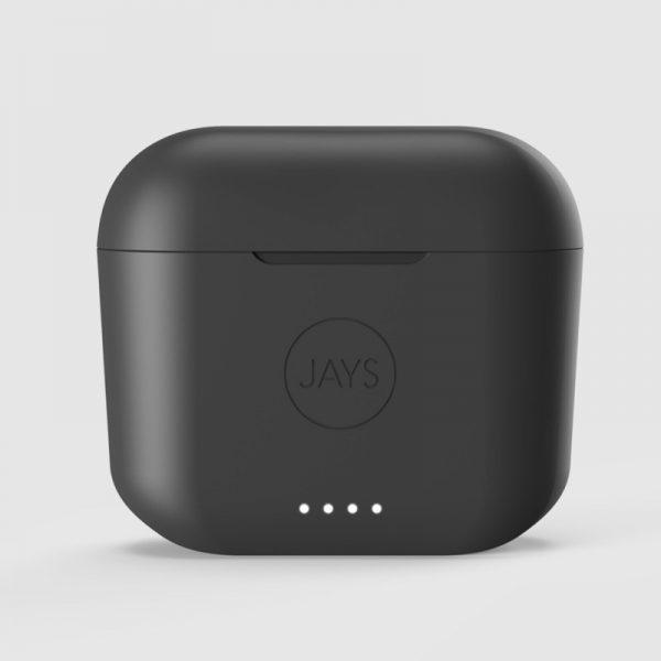 JAYS f- Five True Wireless Earphones Case On Grey Background