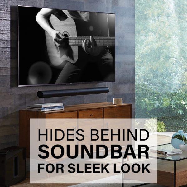 SANUS WSSAWM1 Extendable Soundbar Wall Mount Designed For Sonos Arc Soundbar Lifestyle Hides Behind Soundbar