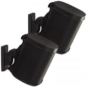 SANUS WSWM22 Wireless Speaker Swivel Tilt Wall Mounts Black On White Background