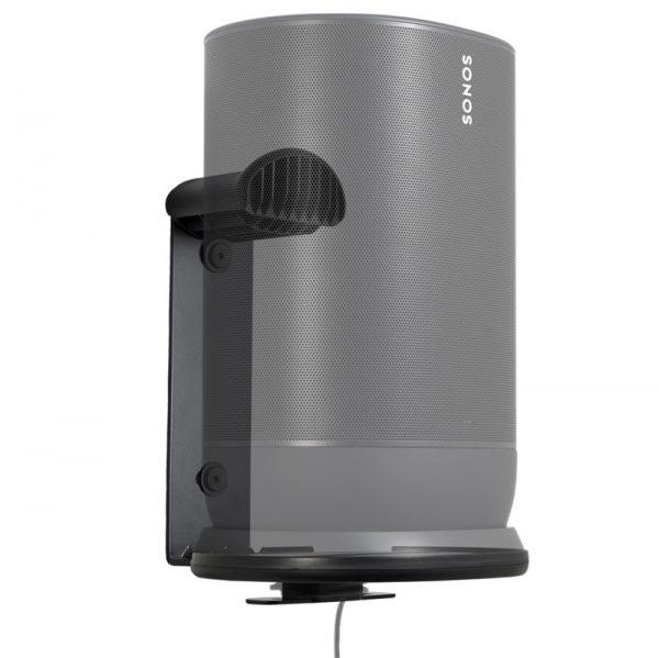 SANUS WSSMM1 Indoor & Outdoor Mount Designed For Sonos Move Speaker Right With Speaker On White Background