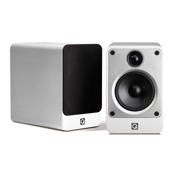 Q Acoustics Concept 20 Stereo Bookshelf Speakers In Gloss White On White Background