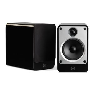 Q Acoustics Concept 20 Stereo Bookshelf Speakers In Gloss Black On White Background