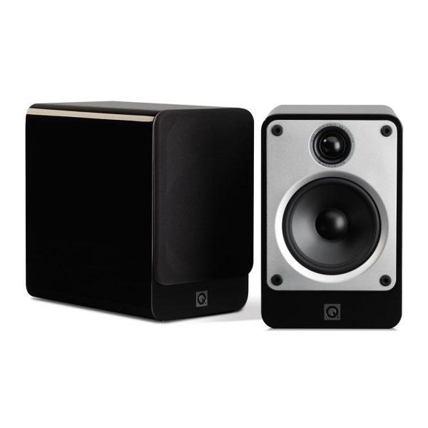 Q Acoustics Concept 20 Stereo Bookshelf Speakers In Gloss Black On White Background