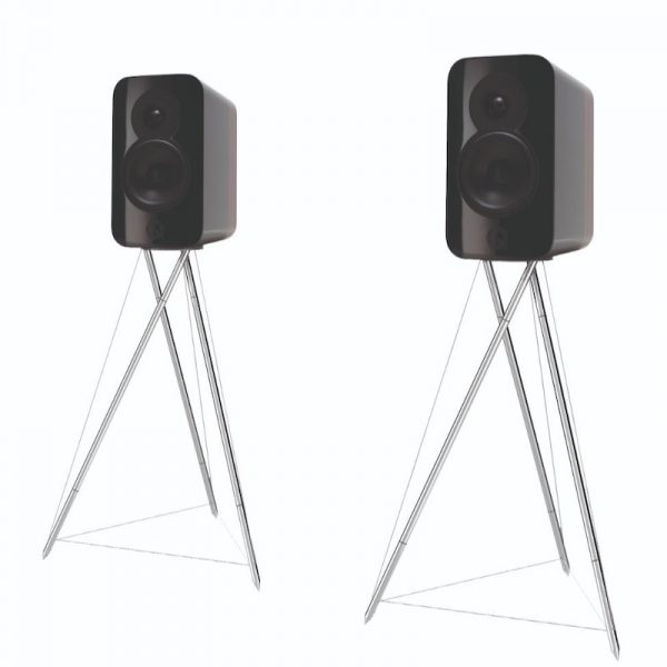 Q Acoustics Concept 300 Stereo Bookshelf Speakers In Gloss Black And Rosewood With Tensegrity Stand On White Background