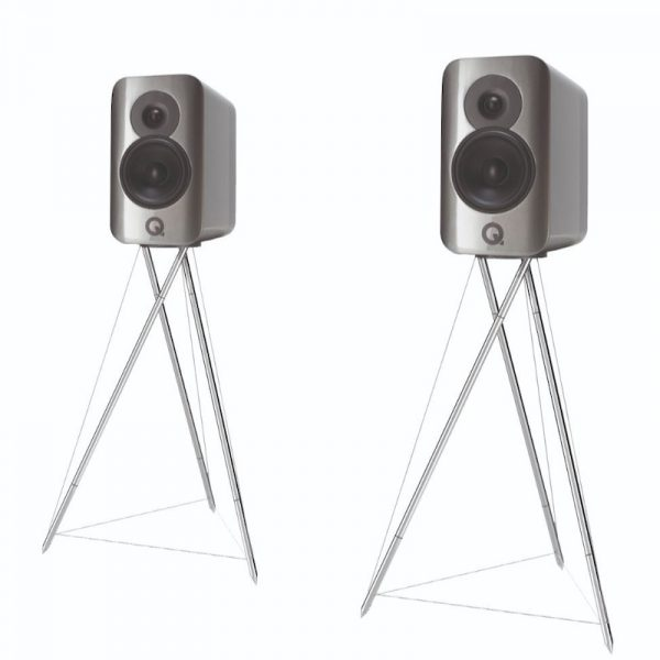 Q Acoustics Concept 300 Stereo Bookshelf Speakers In Gloss Silver And Ebony With Tensegrity Stand On White Background