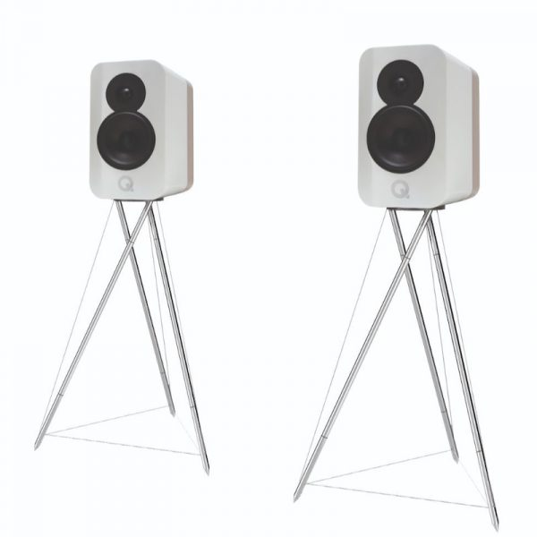 Q Acoustics Concept 300 Stereo Bookshelf Speakers In Gloss White And Light Oak With Tensegrity Stand On White Background