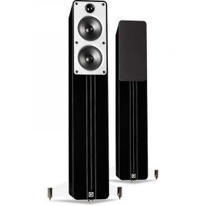 Q Acoustics Concept 40 Stereo Floorstanding Speakers In Gloss Black On White Background