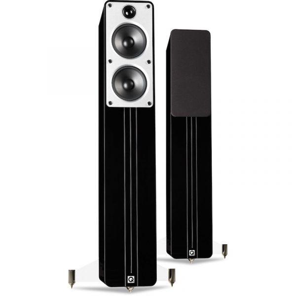 Q Acoustics Concept 40 Stereo Floorstanding Speakers In Gloss Black On White Background