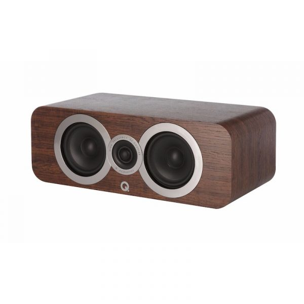 Q Acoustics 3090Ci Stereo Center Speaker In English Walnut On White Background