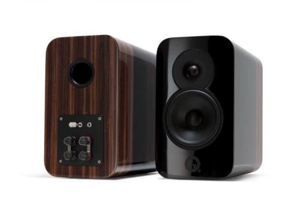 Q Acoustics Concept 300 Stereo Bookshelf Speakers In Gloss Black And Rosewood On White Background