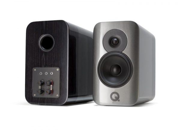 Q Acoustics Concept 300 Stereo Bookshelf Speakers In Gloss Silver And Ebony On White Background