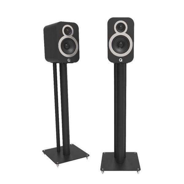 QA3102 Speaker Stand In Textured Black Satin With Speaker On White Background